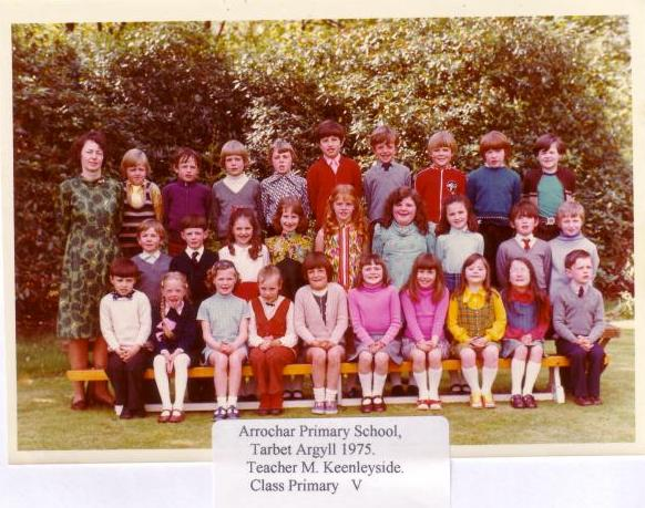 Class photo for Arrochar Primary School, Tarbert 1975 with Margaret Keenleyside as Class teacher