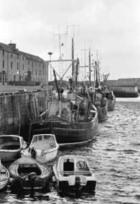Lossiemouth Harbour with the last few fishing boats in 1987
