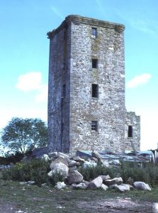 Blervie Castle. The tower is the remnant of the 16th century castle, property of the Dunbars. It is very similar to nearby Burgie Castle (NJ0959)