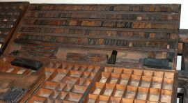 Trays of poster type. This item is on display at the Writer's Museum, Lady Stairs Close, Edinburgh