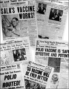 Photo of newspaper headlines about polio vaccine tests Salk_headlines_Polio