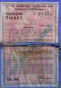A 1938 Empire Exhibition Season Ticket. Glasgow