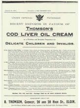Thomson's cod liver oil cream advert from the Northern Scot Christmas Post 1905