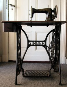 A historical Singer sewing machine.