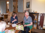 Volunteer, Jo Sweeney interviewing a resident at Larch court Sheltered Housing Complex