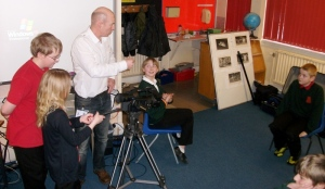 Tim Flood working with the children of Kinloss Primary School before they start the interview filming
