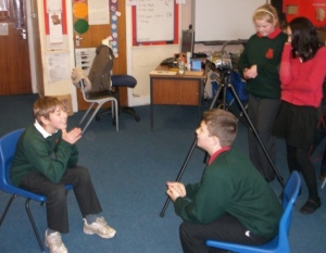 P7 children trying out the different film roles