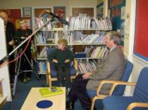 Mike Thompson being interviewed by the Kinloss students