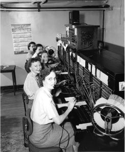An example of a telephone exchange from the 1950s