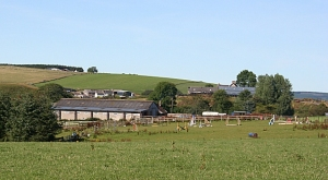This part of Boharm is good farmland. The nearest farm is Knockandhu, which is now a riding school. Beyond and to the right is Dinnyhorn, and the farm visible above the roof of Knockandhu is Auchmadies. Coldhome is on the skyline. Photo by Anne Burgess source: geograph.org.uk