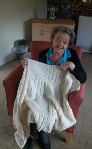 Norma Gerbert with her bedspread
