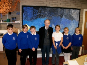Tom Cumming's visit to Burghead Primary School