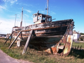 Boat in the harbour at Burghead