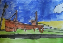 drawing of boat in the harbour at Burghead